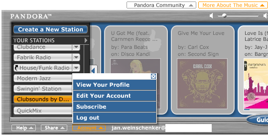 Screenshot of Pandora-Player